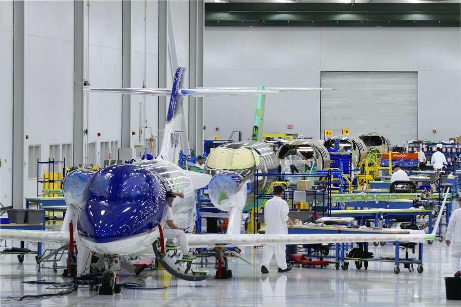 The HondaJet assembly line at Honda Aircraft Company has transitioned to production of customer aircraft. Photo: Honda, Wieck