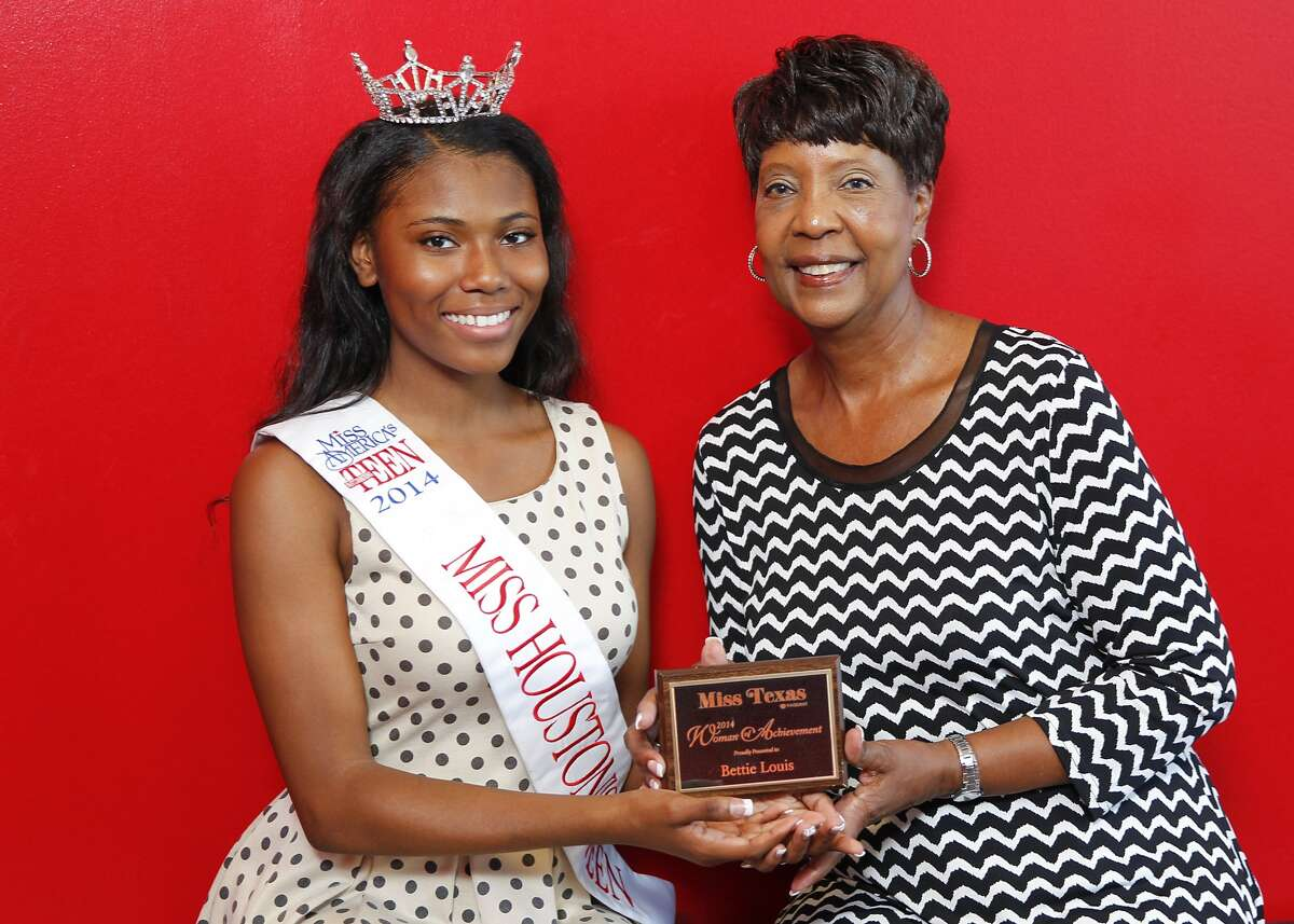 Bettie Louis of Pearland accepts the Miss Texas Pageant Woman of Achievement Award for 2014 from Miss Houston's Teen Kryssalyn Bayne at Sheila Milner's dance studio, Dance Zone, in Missouri City. Milner is Louis' daughter. Bettie Louis of Pearland accepts the Miss Texas Pageant Woman of Achievement Award for 2014 from Miss Houston's Teen Kryssalyn Bayne at Sheila Milner's dance studio, Dance Zone, in Missouri City. Milner is Louis' daughter.