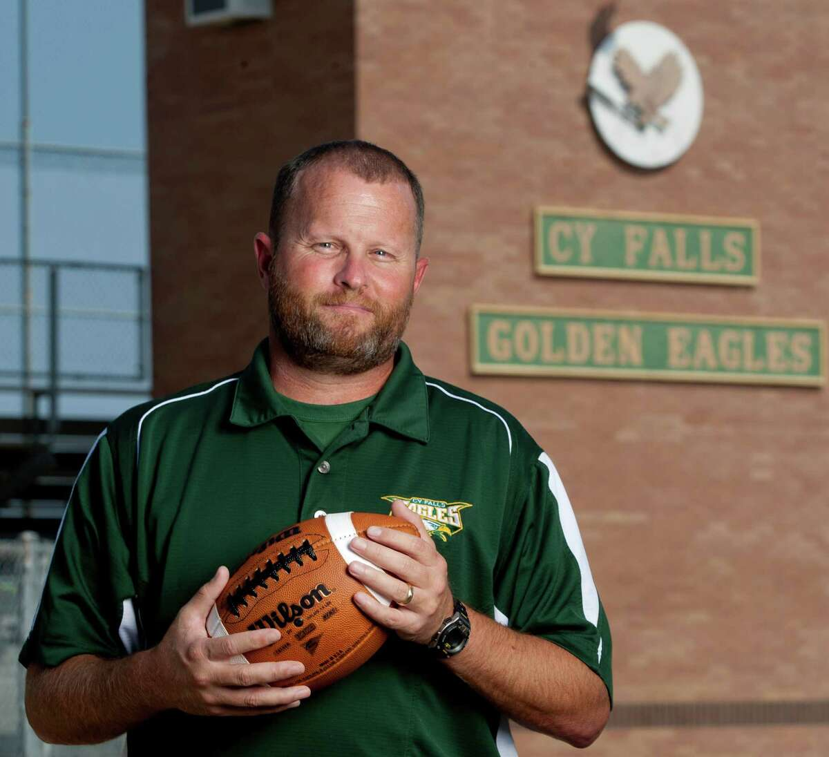 8/1/11: Cypress Falls High School head football coach and Athletic Director, Kirk Eaton at Cypress Falls High School in Cypress, Texas Cypress Falls football coach Kirk Eaton is entering his first year as a head coach. Last week, at Canyon Lake, he nearly drowned before two of the district's assistant coaches came to his rescue. Eaton is almost fully recovered from his injuries and will coach the upcoming season .For the Chronicle: Thomas B. Shea