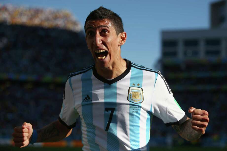 SAO PAULO, BRAZIL - JULY 01:  Angel di Maria of Argentina celebrates scoring his team's first goal in extra time during the 2014 FIFA World Cup Brazil Round of 16 match between Argentina and Switzerland at Arena de Sao Paulo on July 1, 2014 in Sao Paulo, Brazil. Photo: Julian Finney, Getty Images / 2014 Getty Images