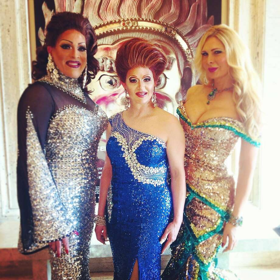 18 June, 6:01 p.m. Drag artists Holotta Tymes (left), Cassandra Cass and Kendra Monroe provide a photo op at the Gorgeous Gala. Photo: Catherine Bigelow, Special To The Chronicle