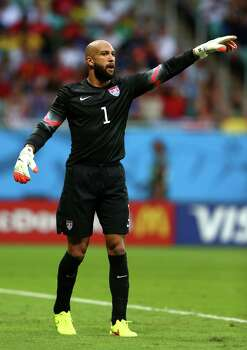 SALVADOR, BRAZIL - JULY 01:  Tim Howard of the United States gestures during the 2014 FIFA World Cup Brazil Round of 16 match between Belgium and the United States at Arena Fonte Nova on July 1, 2014 in Salvador, Brazil. Photo: Michael Steele, Getty Images / 2014 Getty Images