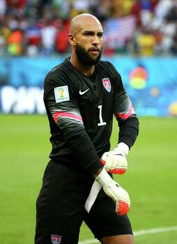 SALVADOR, BRAZIL - JULY 01:  Goalkeeper Tim Howard of the United States looks on during the 2014 FIFA World Cup Brazil Round of 16 match between Belgium and the United States at Arena Fonte Nova on July 1, 2014 in Salvador, Brazil. Photo: Kevin C. Cox, Getty Images / 2014 Getty Images
