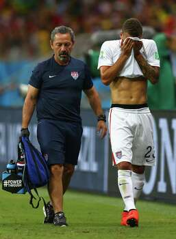SALVADOR, BRAZIL - JULY 01:  Fabian Johnson of the United States walks off the field during the 2014 FIFA World Cup Brazil Round of 16 match between Belgium and the United States at Arena Fonte Nova on July 1, 2014 in Salvador, Brazil. Photo: Michael Steele, Getty Images / 2014 Getty Images