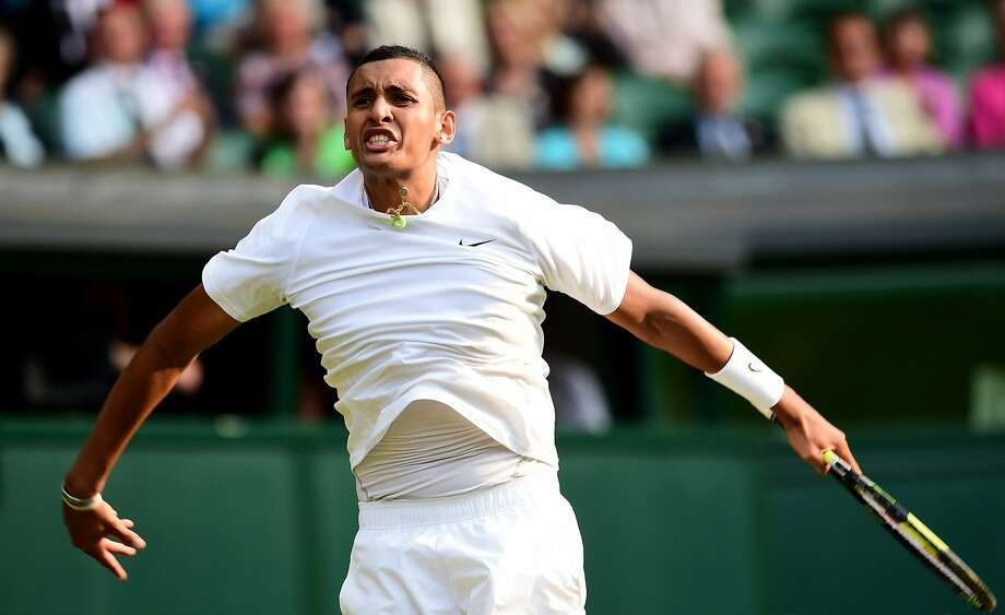 Nick Kyrgios, 19, showed no nerves and even used a between-the-legs shot for a winner in defeating top-ranked Rafael Nadal. Photo: Carl Court, AFP/Getty Images