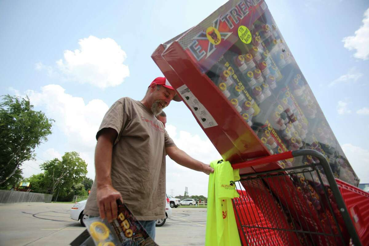 Nick Adamo shops at Top Dog Fireworks in preparation for the Fourth of July firework show on July 1, 2014, in Houston, Tx.