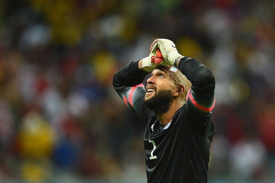 SALVADOR, BRAZIL - JULY 01: Tim Howard of the United States reacts during the 2014 FIFA World Cup Brazil Round of 16 match between Belgium and the United States at Arena Fonte Nova on July 1, 2014 in Salvador, Brazil.  (Photo by Jamie McDonald/Getty Images) Photo: Jamie McDonald, Getty Images