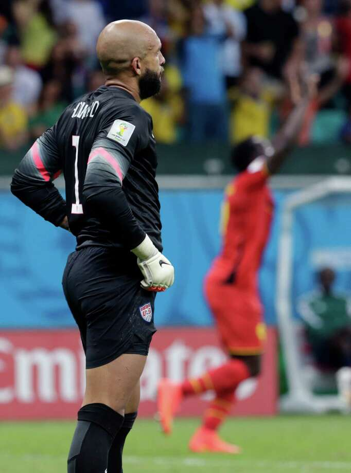 United States' goalkeeper Tim Howard reacts after Belgium's Romelu Lukaku scored his side's second goal during the World Cup round of 16 soccer match between Belgium and the USA at the Arena Fonte Nova in Salvador, Brazil, Tuesday, July 1, 2014.   (AP Photo/Julio Cortez) Photo: Julio Cortez, Associated Press / AP