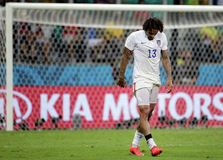 United States' Jermaine Jones walks off the pitch at the end of the extra time during the World Cup round of 16 soccer match between Belgium and the USA at the Arena Fonte Nova in Salvador, Brazil, Tuesday, July 1, 2014. Belgium held on to beat US 2-1 in extra time.(AP Photo/Felipe Dana) Photo: Felipe Dana, Associated Press / AP