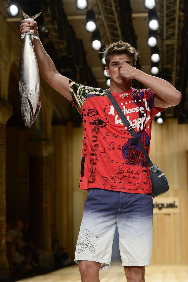 I'm too sexy for carp, too sexy for my carp: A model presents a fresh look by Desigual at Barcelona Spring-Summer 2015 Fashion Week. Photo: Josep Lago, AFP/Getty Images