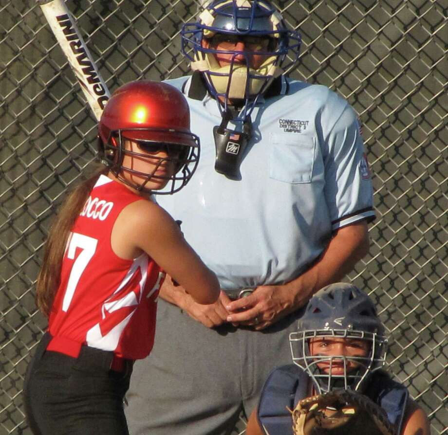Fairfield Little League softball all-star Jayney Magliocco at bat in the District 2 tournament at Unity Park in Trumbull last week. Fairfield reached the finals but lost to Westport. Photo: Contributed Photo / Fairfield Citizen