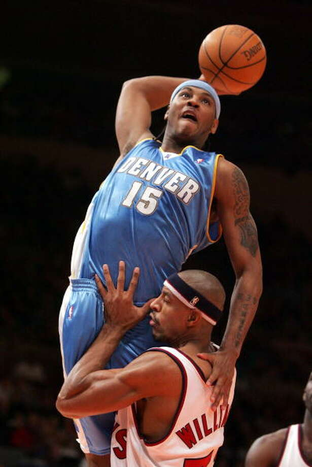 2004-05 seasonAnthony followed up his rookie campaign with a strong second season as he averaged 20.8 points per game and once again led the Nuggets to the playoffs. Photo: Jim McIsaac, Getty Images / 2004 Getty Images