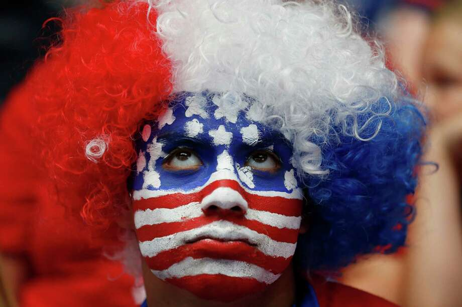Tommy Martinez, of Midlothian, looks toward the video board late in regulation time during a watch party for the World Cup soccer match between the United States and Belgium in Arlington, Texas, Tuesday, July 1, 2014. (AP Photo/The Dallas Morning News, Andy Jacobsohn) Photo: Andy Jacobsohn, MBR / The Dallas Morning News