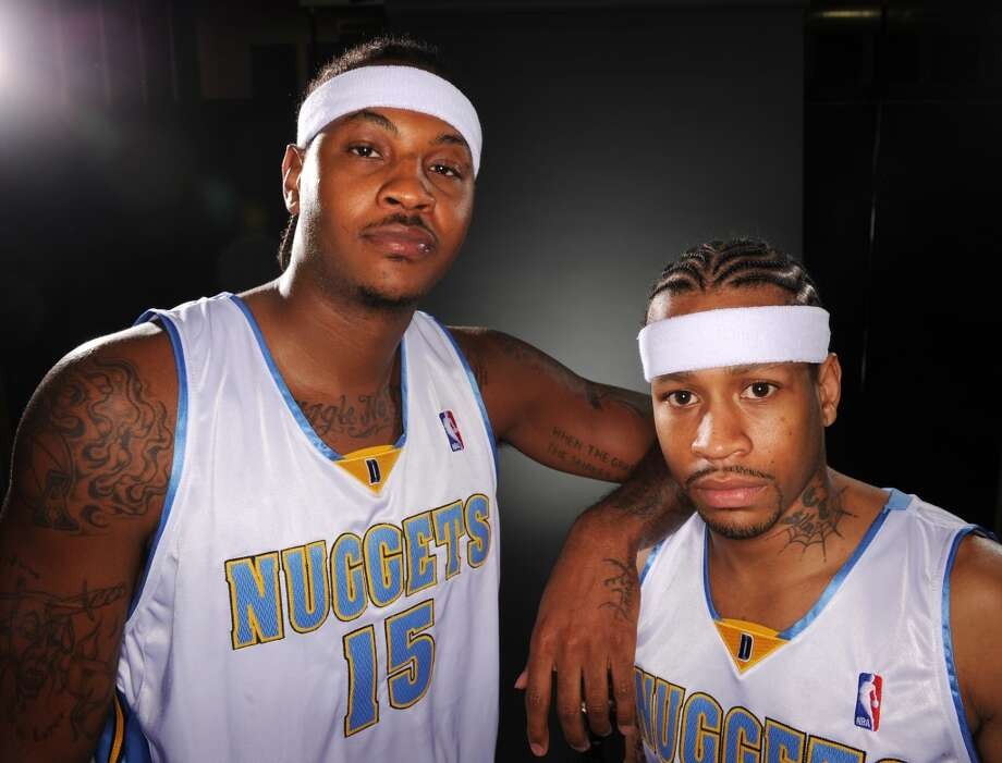 2008-09 season   Denver dealt Allen Iverson, who joined the Nuggets during the 2006-07 season, early in the campaign. Once again the lone leader of the team, Anthony guided the Nuggets to the Western Conference Finals. Photo: Cyrus McCrimmon, Denver Post Via Getty Images