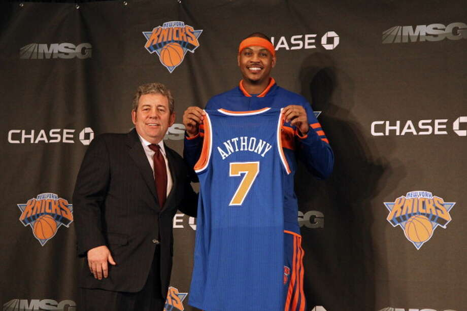 2010-11 season   Midway through the 2010-11 season, Anthony forced a trade to New York in which the Knicks gave up Wilson Chandler, Raymond Felton, Danilo Gallinari, Timofey Mozgov, two second round draft picks and a 2014 first round draft choice for the star small forward. Photo: Nathaniel S. Butler, NBAE/Getty Images / 2011 NBAE