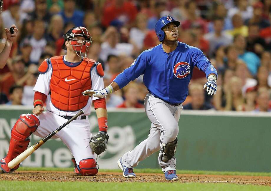 BOSTON, MA - JULY 1: Luis Valbuena #24 of the Chicago Cubs knocks in a run with a sac fly against the Boston Red Sox in the 9th inning at Fenway Park on July 1, 2014 in Boston, Massachusetts.  (Photo by Jim Rogash/Getty Images) ORG XMIT: 477585867 Photo: Jim Rogash / 2014 Getty Images