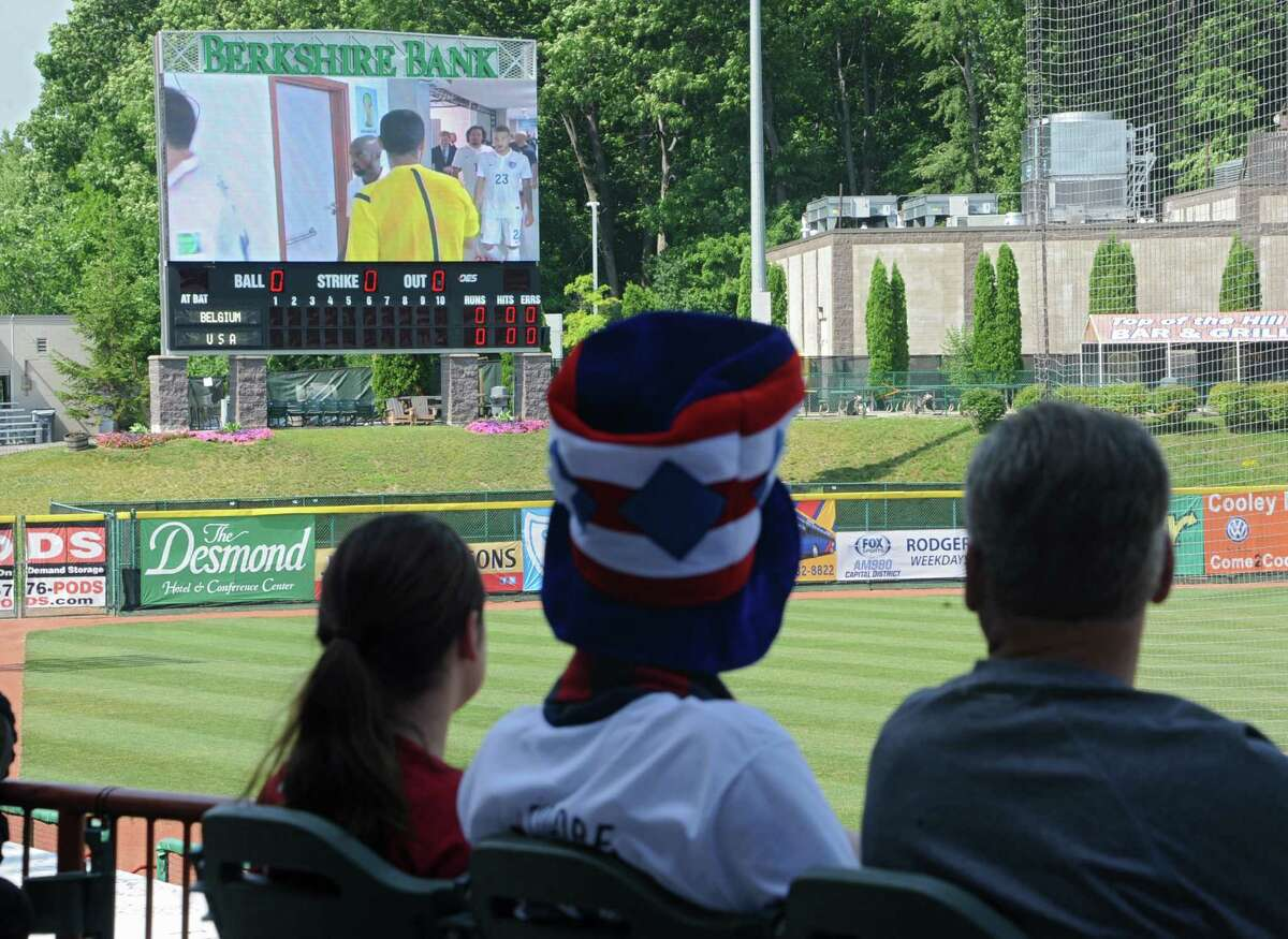 Fans get ready to watch the United States soccer match against Belgium as the Tri-City ValleyCats host a World Cup viewing party at the Joe Bruno Stadium Tueday, July 1, 2014 in Troy, N.Y. (Lori Van Buren / Times Union)