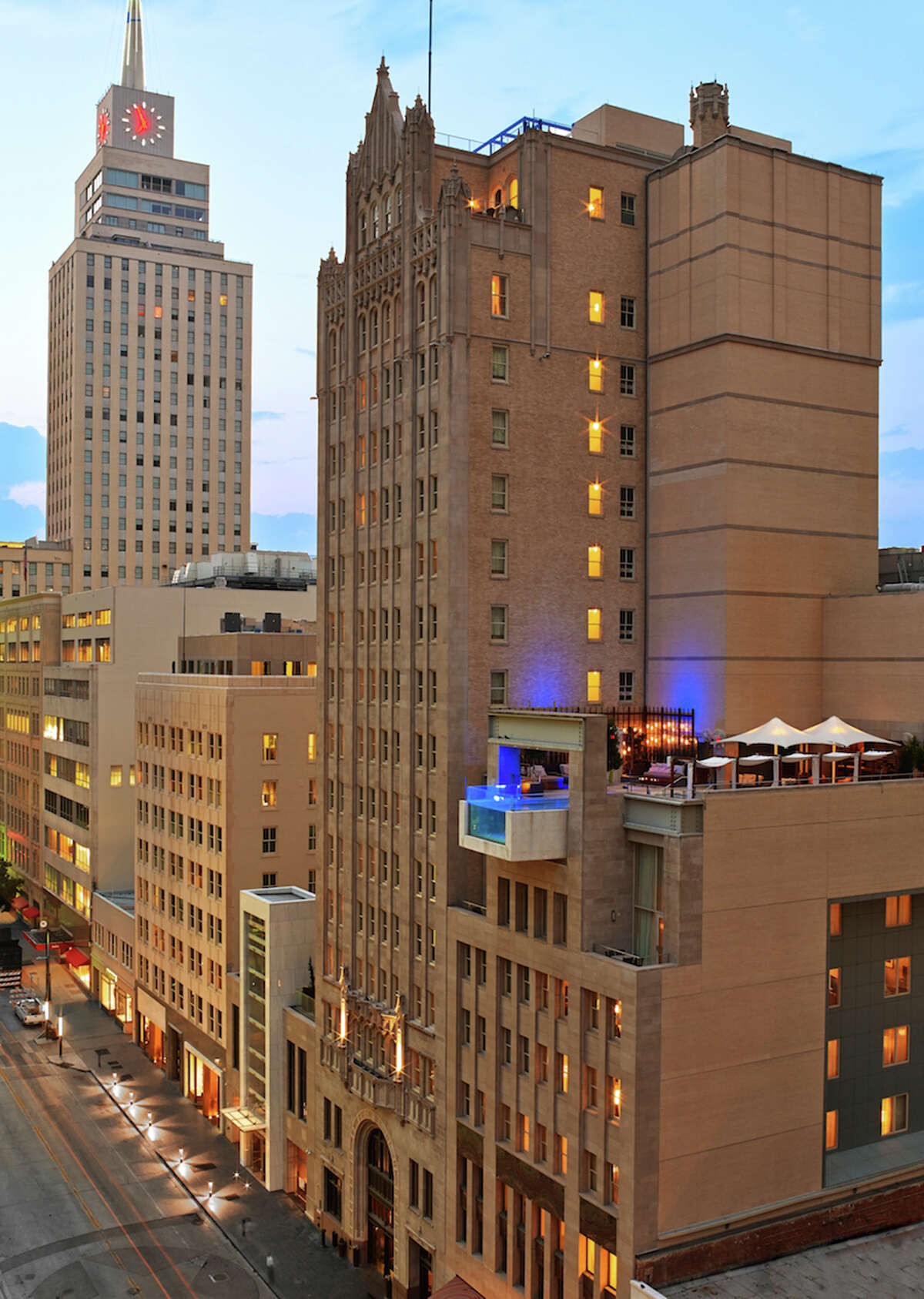 The Joule Hotel in downtown Dallas occupies a 1927 Gothic building but sports contemporary interior architecture.