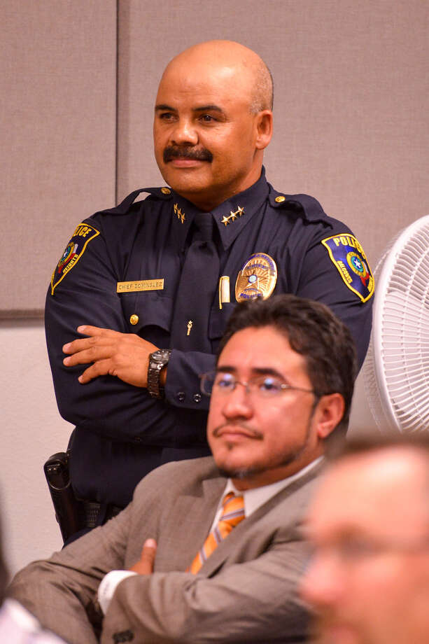 Balcones Heights Police Chief Henry Dominguez and attorney Mark Anthony Sanchez during a City Council meeting. Photo: Express-News / File Photo
