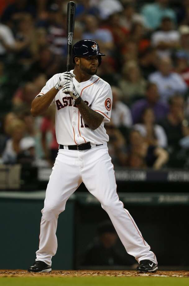 Astros right fielder Domingo Santana (13) during his first at bat. Photo: Karen Warren, Houston Chronicle