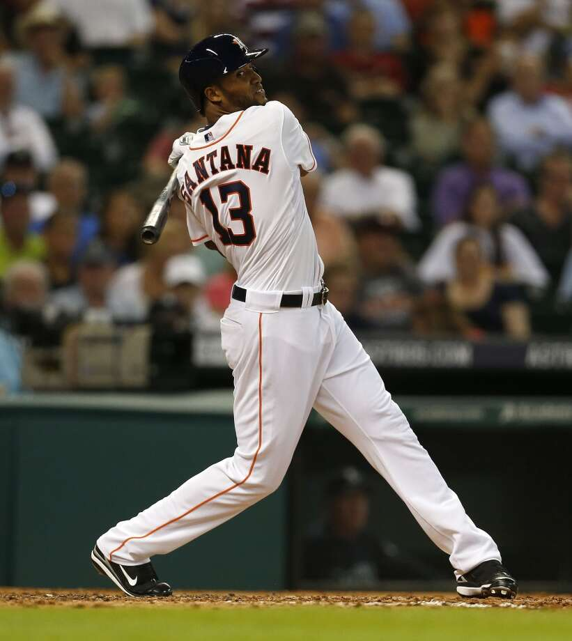 Astros right fielder Domingo Santana (13) strikes out during his first at bat. Photo: Karen Warren, Houston Chronicle