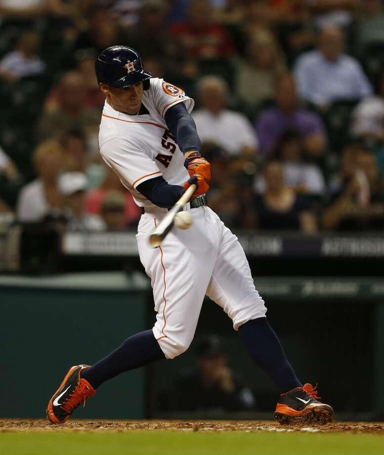 Astros right fielder George Springer (4) flies out to James Jones. Photo: Karen Warren, Houston Chronicle
