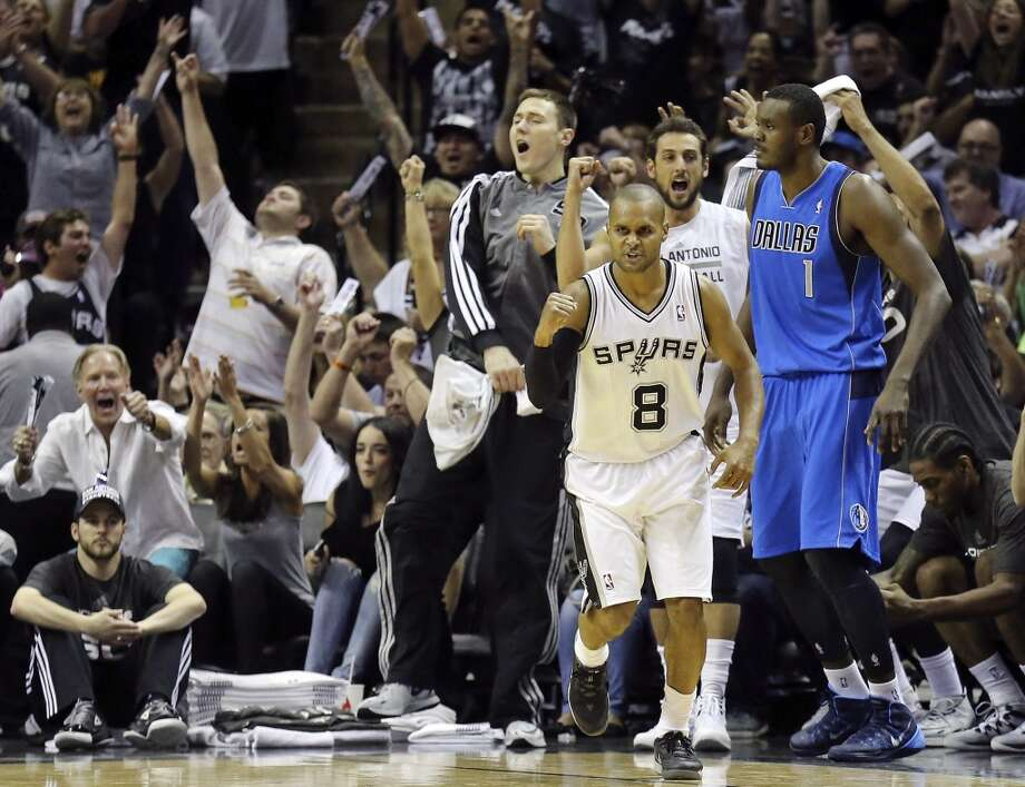 San Antonio Spurs' Patty Mills reacts after hitting a 3-pointer during first half action of Game 7 in the first  round of the Western Conference playoffs against the Dallas Mavericks Sunday May 4, 2014 at the AT&T Center. Photo: Edward A. Ornelas, San Antonio Express-News