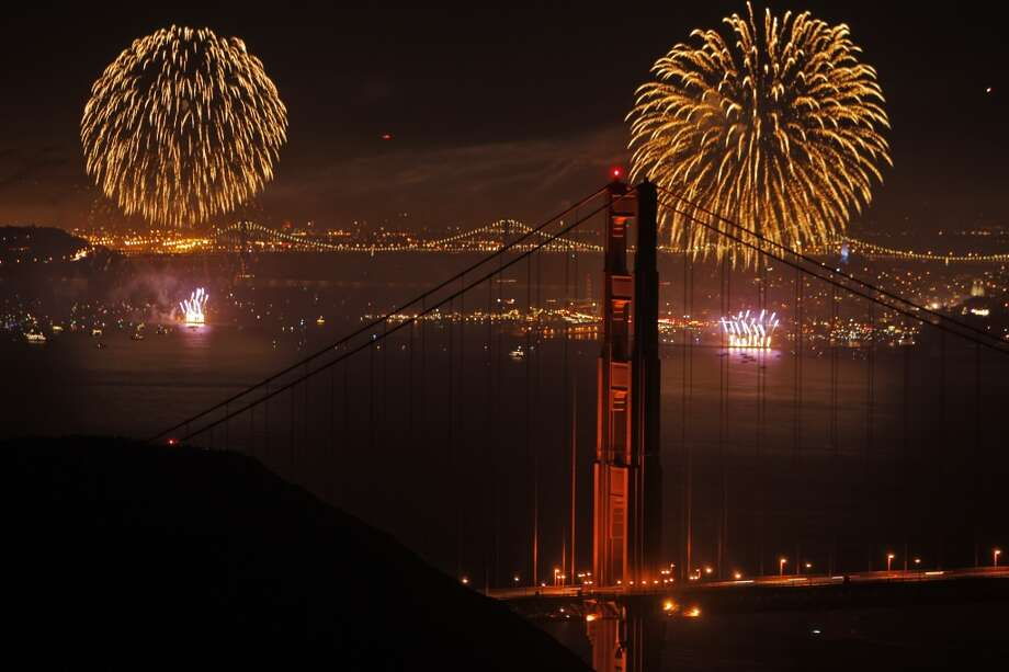 San Francisco's Fourth of July fireworks show is visible through the Golden Gate Bridge in San Francisco, Calif., on Thursday, July 4, 2013. Photo: The Chronicle