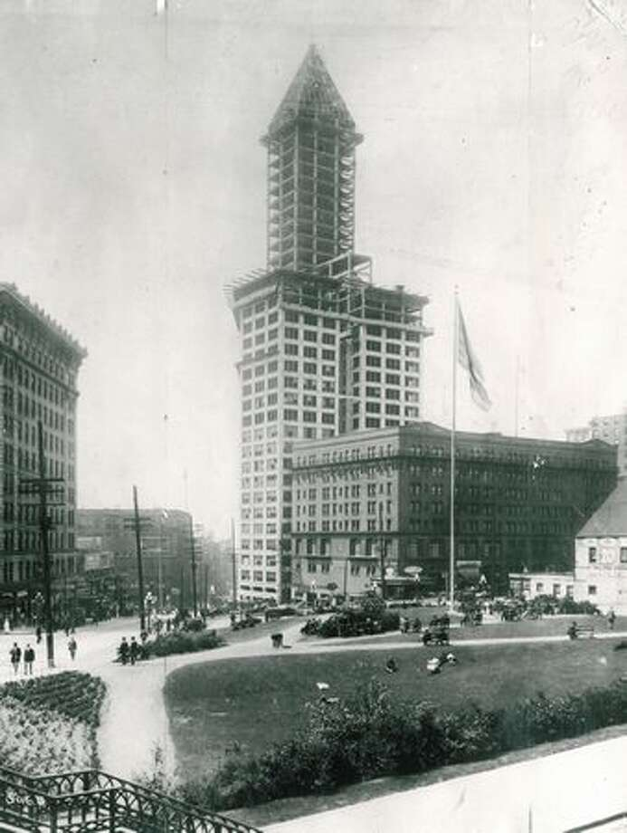 Seattle's skyline was definitely looking up as the 42-story Smith Tower was nearing completion. In 1914, it was the tallest west of the Mississippi River. Photo: P-I File / P-I File