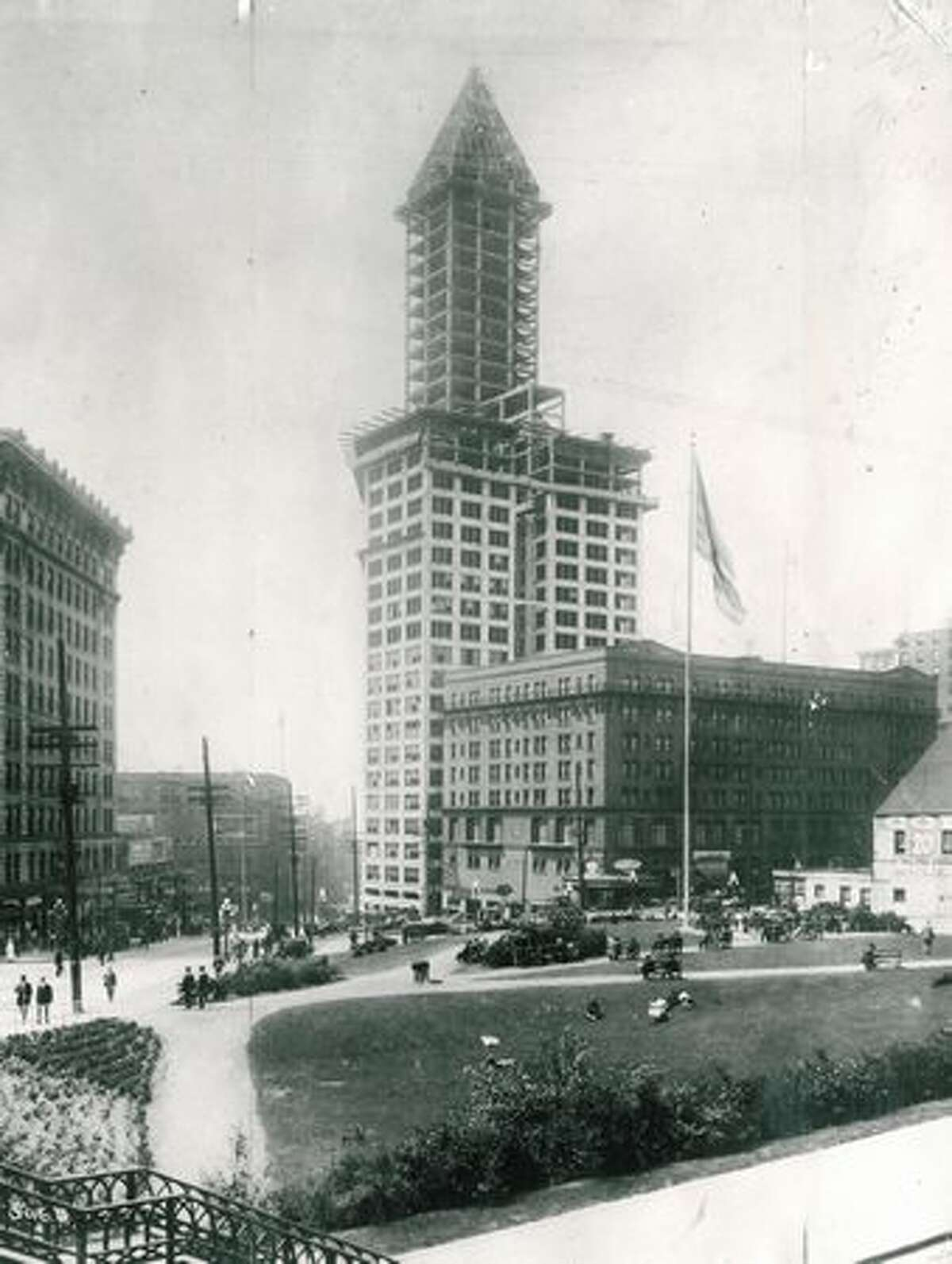 Seattle's skyline was definitely looking up as the 42-story Smith Tower was nearing completion. In 1914, it was the tallest west of the Mississippi River.