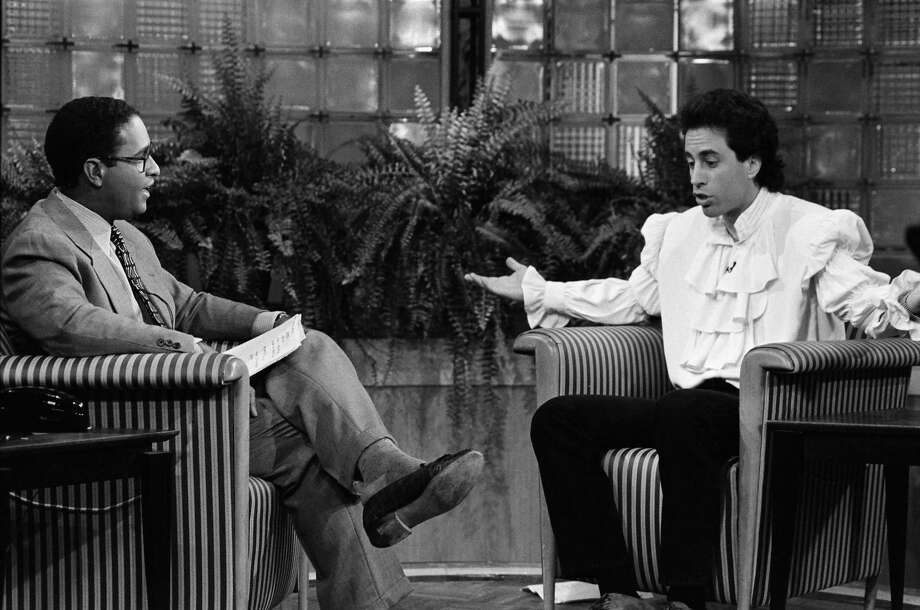 """Low-talker:A person who speaks too softly to be understood (aka the reason Jerry wore the puffy shirt.) — """"The Puffy Shirt,"""" season 5, episode 2 Also, high-talker: A man that sounds like a woman because of a high-pitched voice (""""The Pledge Drive,"""" season 6, episode 3); and close-talker: Some who invades your personal space when speaking to you. (""""The Raincoats"""", season 5, episode 18) Photo: NBC, NBCU Photo Bank Via Getty Images / © NBC Universal, Inc."""