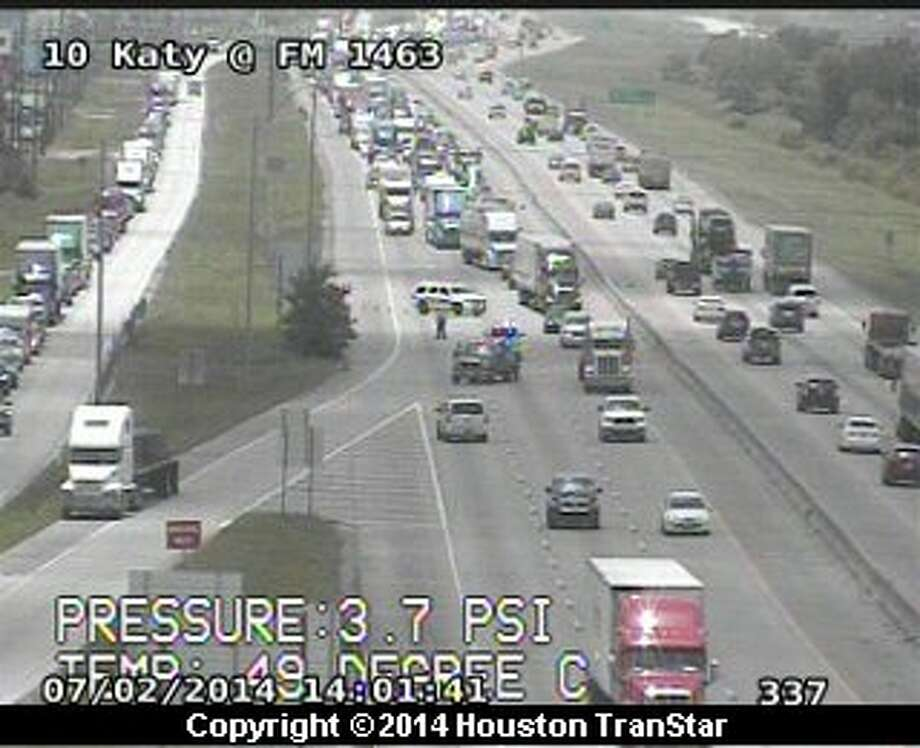 A 2-vehicle accident has shut down all eastbound mainlanes of the Katy Freeway near FM 1463, Houston TranStar reports. Photo: TranStar
