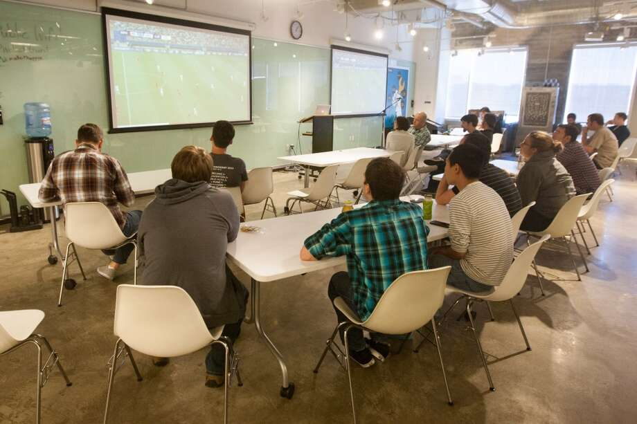 Pivotal showed the games on two large screens in the common break space and attracted a large crowd. Photo: Douglas Zimmerman, Courtesy