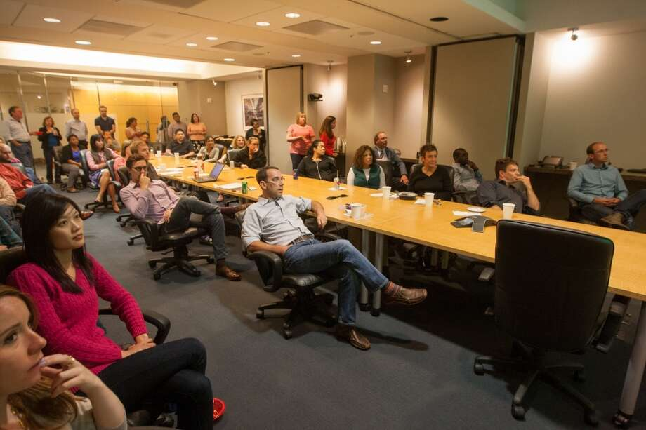 In downtown San Francisco employees filled the boardroom at Kilpatrick Townsend & Stockton, LLP to watch the match. Photo: Douglas Zimmerman, Courtesy