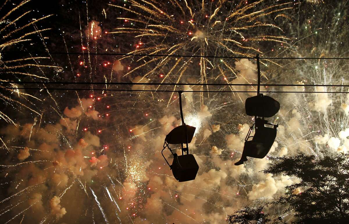 Getting a jump on the Fourth:Fireworks light up the sky at the Summerest musical festival in Milwaukee.