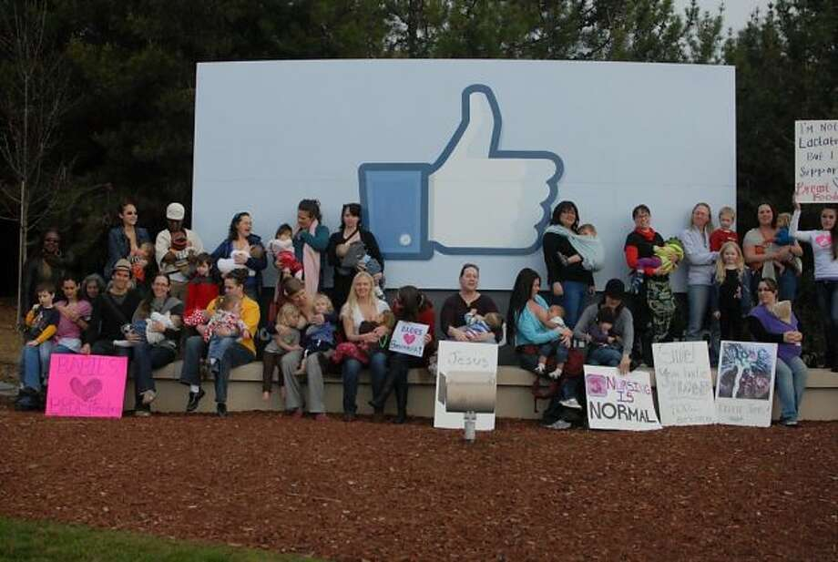 A group of mothers participated in a nurse-in demonstration against Facebook on Feb 6th 2012. The protesters says the social network company erroneously suspends accounts for posting photos of mothers breast-feeding. Facebook officials said that breastfeeding photos are taken down only when they are flagged as inappropriate and that sometimes errors happen. (SFGate) Photo: Courtesy Of Paala Secor