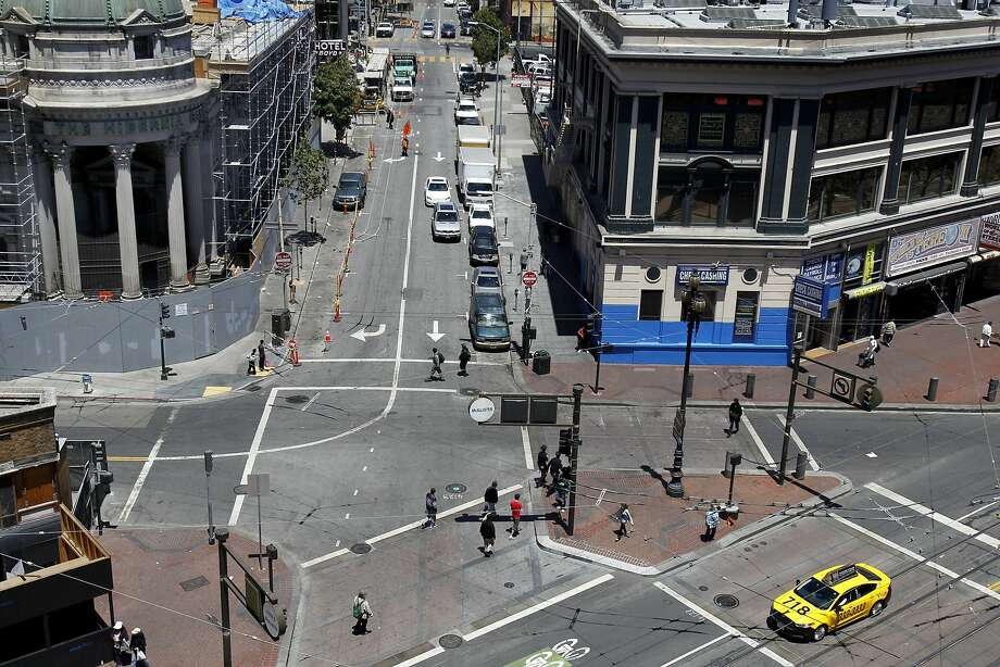 A view looking north from Market Street up Jones Street shows the toughest spot in the Mid-Market area, a hangout for drug dealers and troubled souls. Photo: Brant Ward, San Francisco Chronicle
