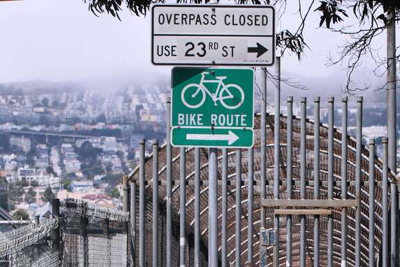 the 25th Street pedestrian bridge over Highway 101 in San Francisco, Calif. on Tuesday, July 1, 2014.
