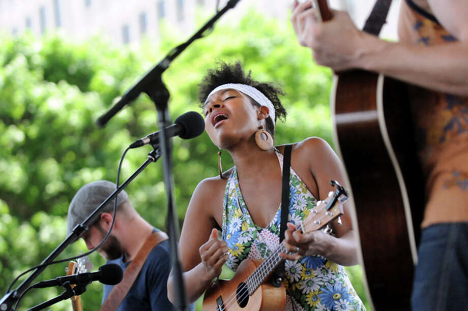 Allison Russell performs with Birds of Chicago on Wednesday July 2, 2014, at the Empire State Plaza in Albany, N.Y. The Made in the Shade free concert series is held  every Wednesday in the shadow of The Egg at noon through Aug. 27. (Cindy Schultz / Times Union) Photo: Cindy Schultz, Albany Times Union / 00027297A