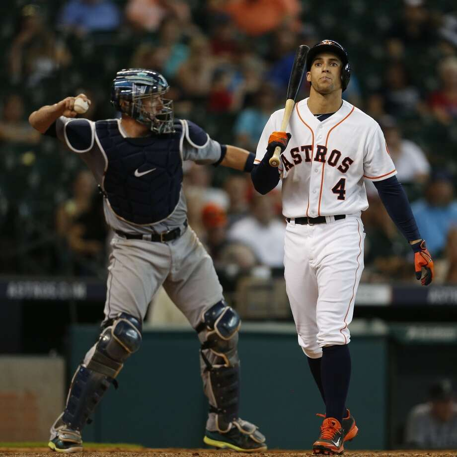 Astros right fielder George Springer strikes out during the ninth inning. Photo: Karen Warren, Houston Chronicle