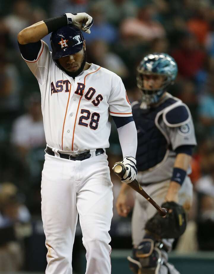 Astros first baseman Jon Singleton during his at bat in the seventh inning. Photo: Karen Warren, Houston Chronicle