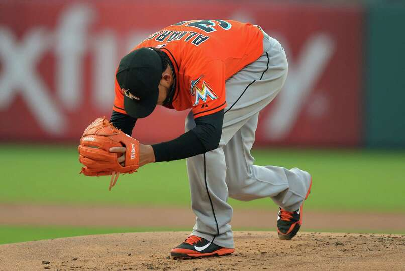 PHILADELPHIA, PA - JUNE 25: Henderson Alvarez #37 of the Miami Marlins goes through a routine before
