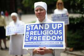 CHICAGO, IL - JUNE 30:  Sister Caroline attends a rally with other supporters of religious freedom to praise the Supreme Court's decision in the Hobby Lobby, contraception coverage requirement case on June 30, 2014 in Chicago, Illinois. Oklahoma-based Hobby Lobby, which operates a chain of arts-and-craft stores, challenged the provision and the high court ruled 5-4 that requiring family-owned corporations to pay for insurance coverage for contraception under the Affordable Care Act violated a federal law protecting religious freedom.
