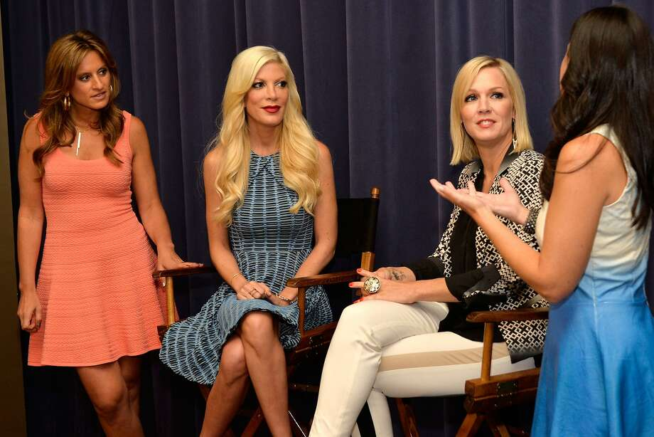 "Denise Albert (left), Tori Spelling, Jennie Garth and Melissa Gerstein at a ""Mystery Girls"" screening. ""Beverly Hills, 90210"" alums Spelling and Garth never expected to be co-stars again. Photo: Ben Gabbe, Getty Images"
