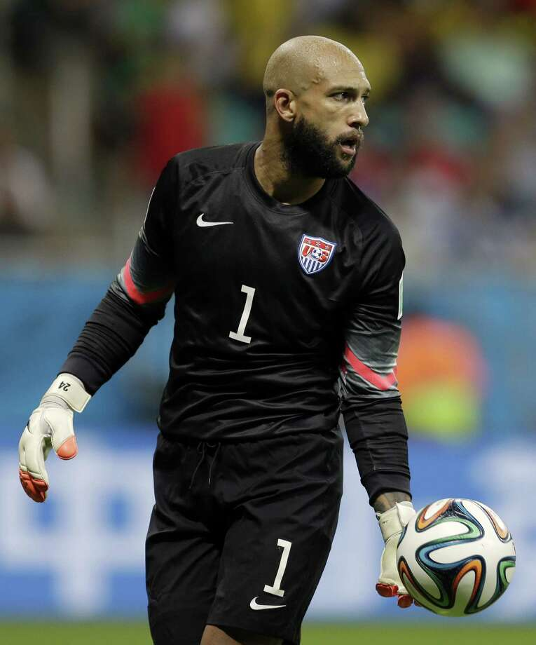 "U.S. goalkeeper Tim Howard was heaped lots of praise on Twitter during his 16-save outing in a 2-1 loss to Belgium on Tuesday. ""With social media, nothing surprises me,"" he said. Photo: Natacha Pisarenko, Associated Press / AP"