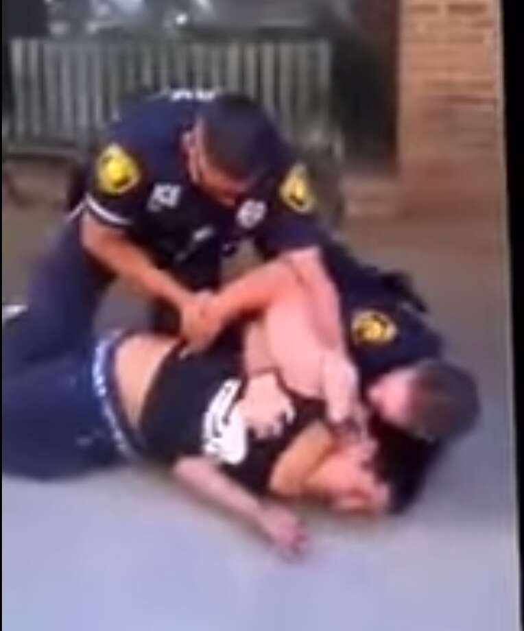 Park Police Officer Michael Ramirez is being investigated by the SAPD for using what appears to be a banned choke hold for two minutes on an unarmed 16-year-old. Photo: Screenshots Of Video