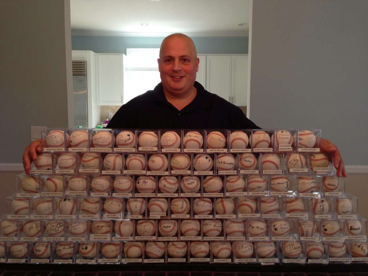 Randy Kaplan, a New York-based lobbyist, collects baseballs autographed by world leaders, a task that he says takes quite a bit of patience and networking. His collection, which he builds constantly, is on display at the Lyndon B. Johnson Presidential Library and Museum in Austin. (Photo courtesy of Randy Kaplan)