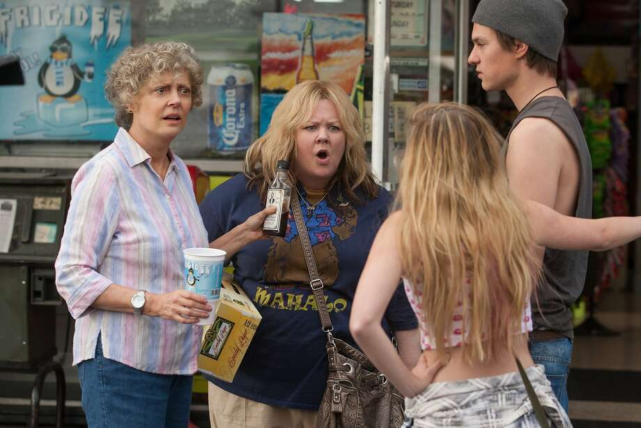 "Melissa McCarthy (center) as the title character, and Susan Sarandon as her grandmother Pearl, in ""Tammy."" The film makes the mistake of placing McCarthy in the ""straight man"" role. Photo: Michael Tackett, Warner Bros."
