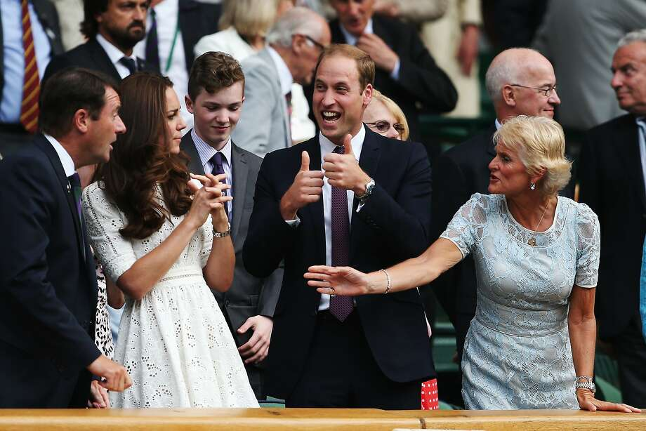 Calm down, Your Highness: Prince William is pretty excited about the developments unfolding on Centre Court at 