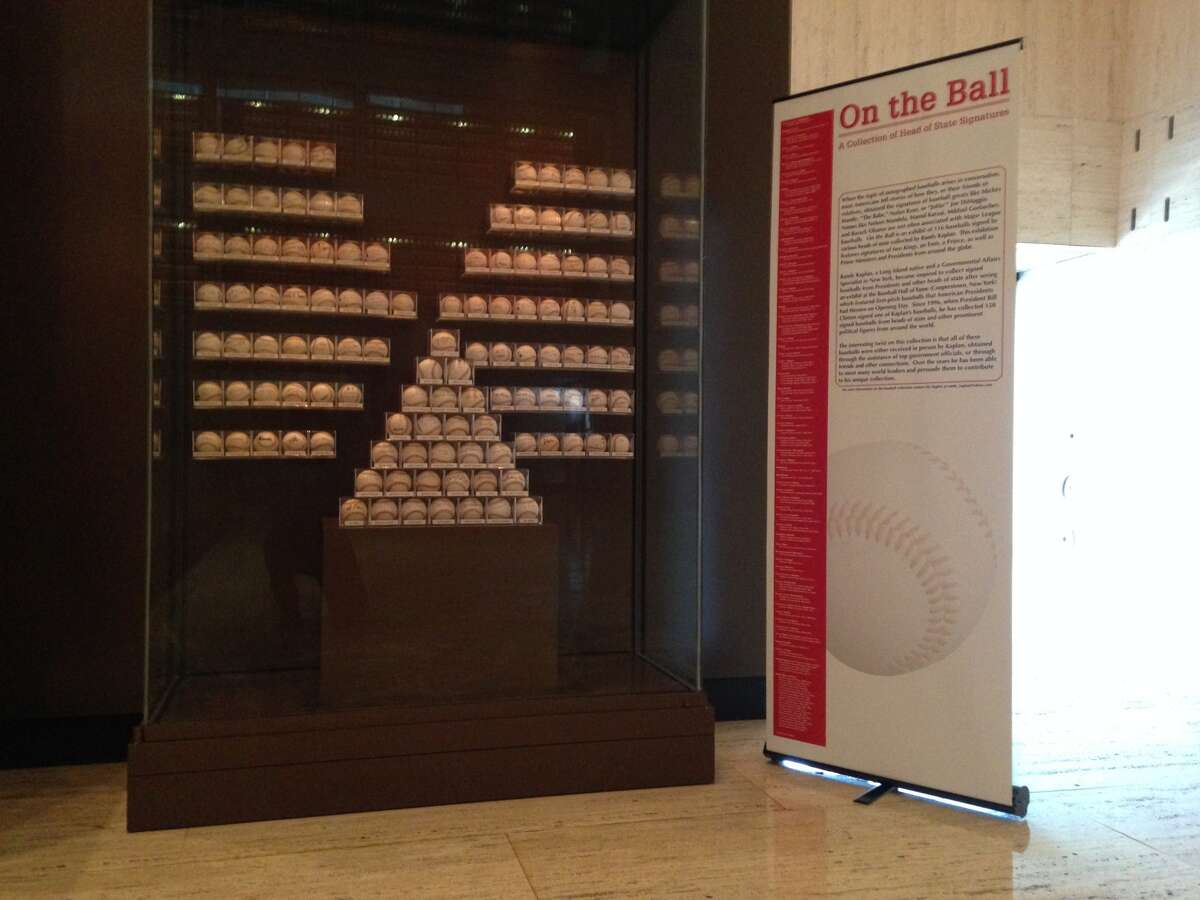 New York lobbyist Randy Kaplan's collection of 116 baseballs signed by world leaders sits in the Lyndon B. Johnson Presidential Library in Austin. The exhibit is on display until December. (Photo by Joshua Fechter)